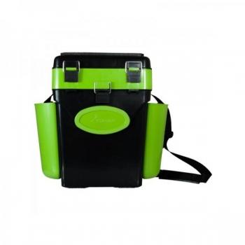 Kalastuskast HELIOS Fishbox 19l kõrge 500x320x395mm roheline/must max.130kg