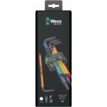 Wera pikkade kuuskant L-võtmete kmpl 1,5-10mm 9 osa, Multicolour, värvilised, BlackLaser, kuulpea 950 SPKL/9
