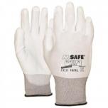 Nailon töökindad polüretaan kattega M-Safe, PU-Flex W valged, suurus 9/L