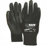 Nailon töökindad polüretaan kattega M-Safe, PU-Flex B mustad, suurus 9/L