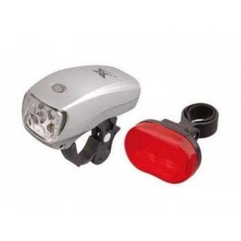 Tulede komplekt X-Light XC-8018 5LED/3LED 3F plast hõbe/must, patareid