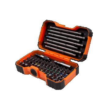 """Värvikoodidega otsakute kmpl 1/4"""" 54 osa 2 magnethoidikuga PH,PH2G,PZ,SL,Hex,TORX,TORX TR,R 25mm 45tk, 125mm 4tk ja 150mm 3tk"""