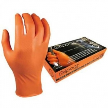 Ühekordsed nitriilkindad M-Safe Grippaz, oranžid, 9/L