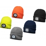 Kootud müts sisseehitatud LED pealambiga, hall